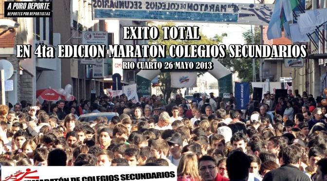 4TA MARATON COLEGIOS SECUNDARIOS 26 MAYO 2013 ORGANIZA COLEGIO HISPANO ARGENTINO RIO CUARTO Cba. Fotografia y Video del evento.