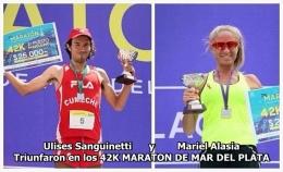 Ulises Sanguinetti Atleta de tresarroyos y la marplatense Mariel Alasia triunfaron en la distancia 42K MARATON DE MAR DEL PLATA 27 noviembre2016.