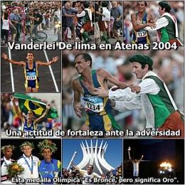 """Vanderlei De lima en Atenas 2004 esta medalla Olímpica """"Es Bronce, pero significaOro""""."""