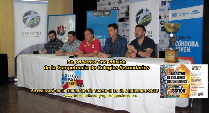 Presenta la 9na edición de la Competencia de Colegios Secundarios para el 16 septiembre 2018
