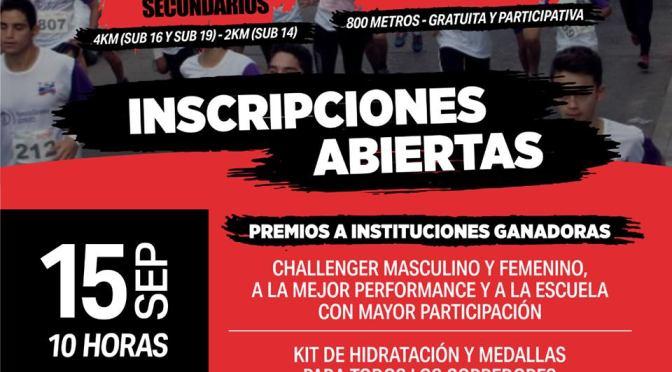 15 Setiembre 2019 se realiza la Corrida Atletica de Colegios secundarios en Rio Cuarto CBa.